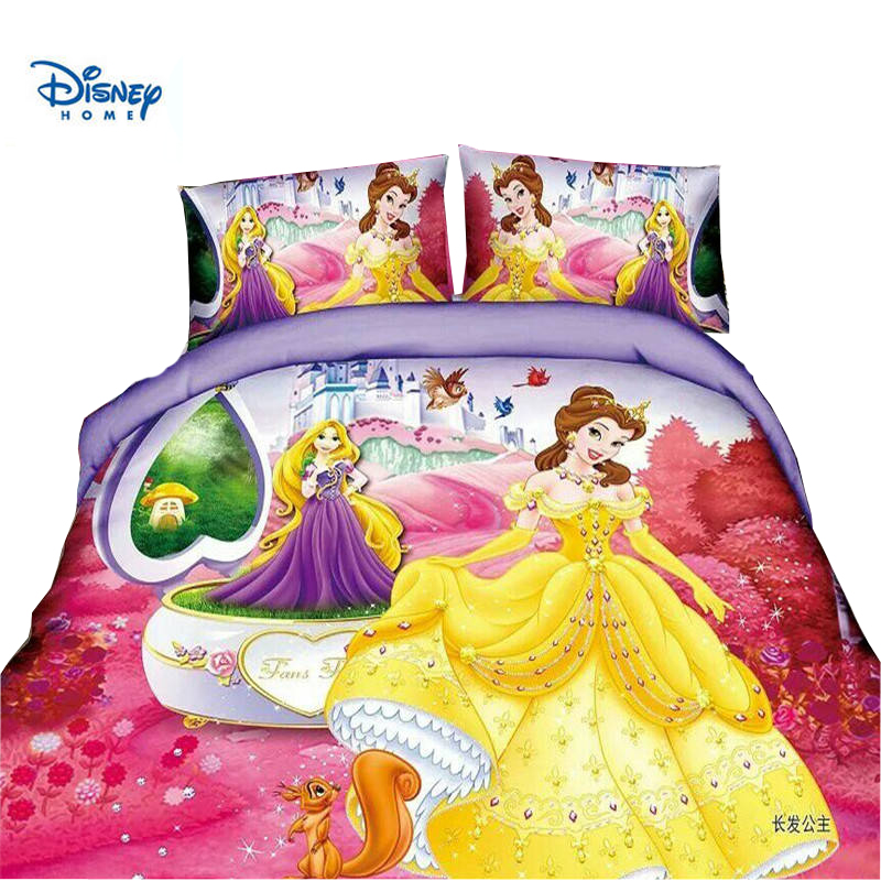 Disney doce rosa princesa menina colcha capa 2/3/4pc neve branca sophia impressão kis presente conjunto de cama único tamanho gêmeo colchas menino