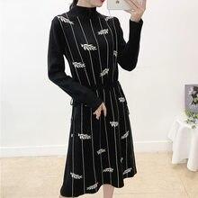 Женское платье свитер с длинным рукавом вышивкой