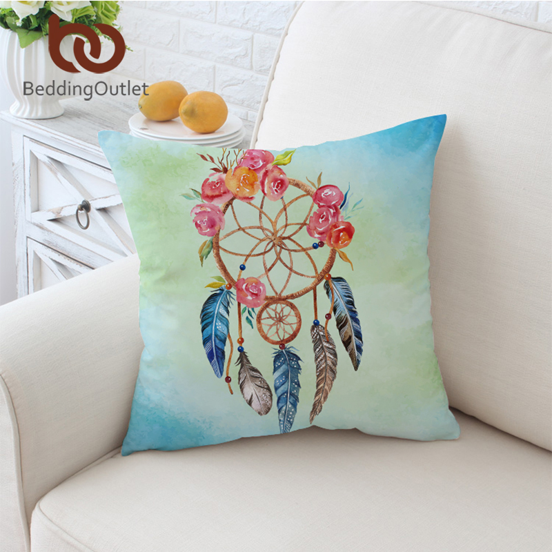 BeddingOutlet Dreamcatcher Cushion Cover Floral Rose Pillow Case Throw Cover Feathers Print Pillow Cover 2 Sizes For Sofa Car