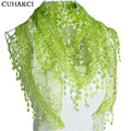 2017 Autumn Women Silk Flower Lace Triangle Spain Scarf Female Women Baby Girls Tassel Shawls and Scarves 18 Colors Wraps J049