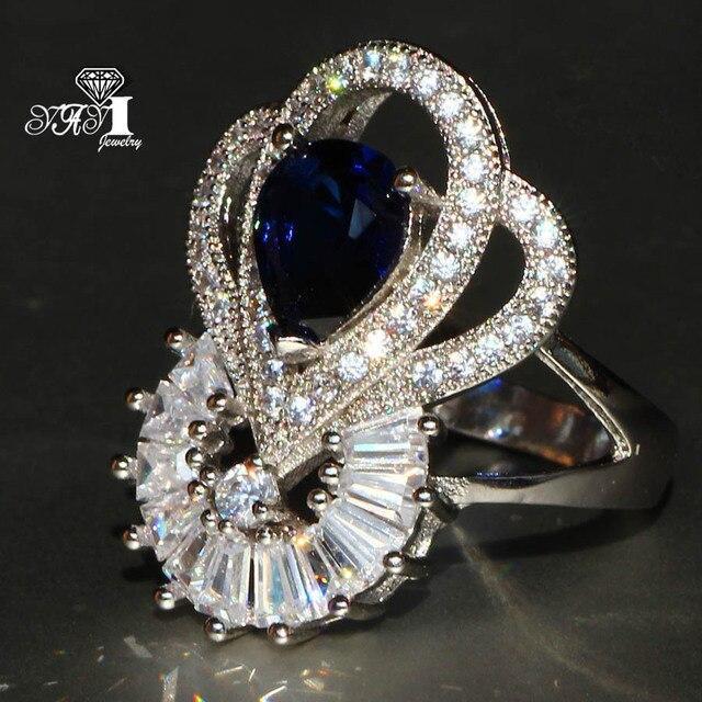 YaYI Jewelry Fashion Princess Cut 5.6 CT Blue Zircon Silver Color Engagement Rin