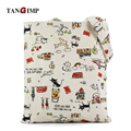 TANGIMP Black White Cat Pattern Cotton Linen Canvas Bags / Women Handbags Cute Eco Shoulder Totes sac cabas Summer Shopping Bags