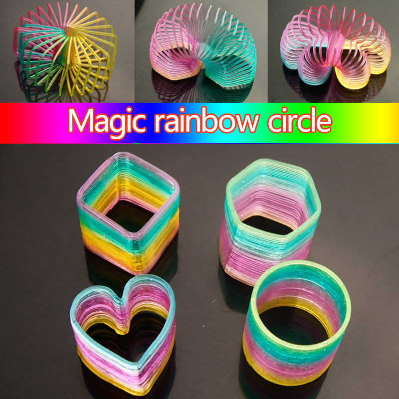 Colorful Antistress Hand Skill Toys Magic Rainbow Circle Plastic Spring Coil Children's Creative Folding Toy Educational Toys