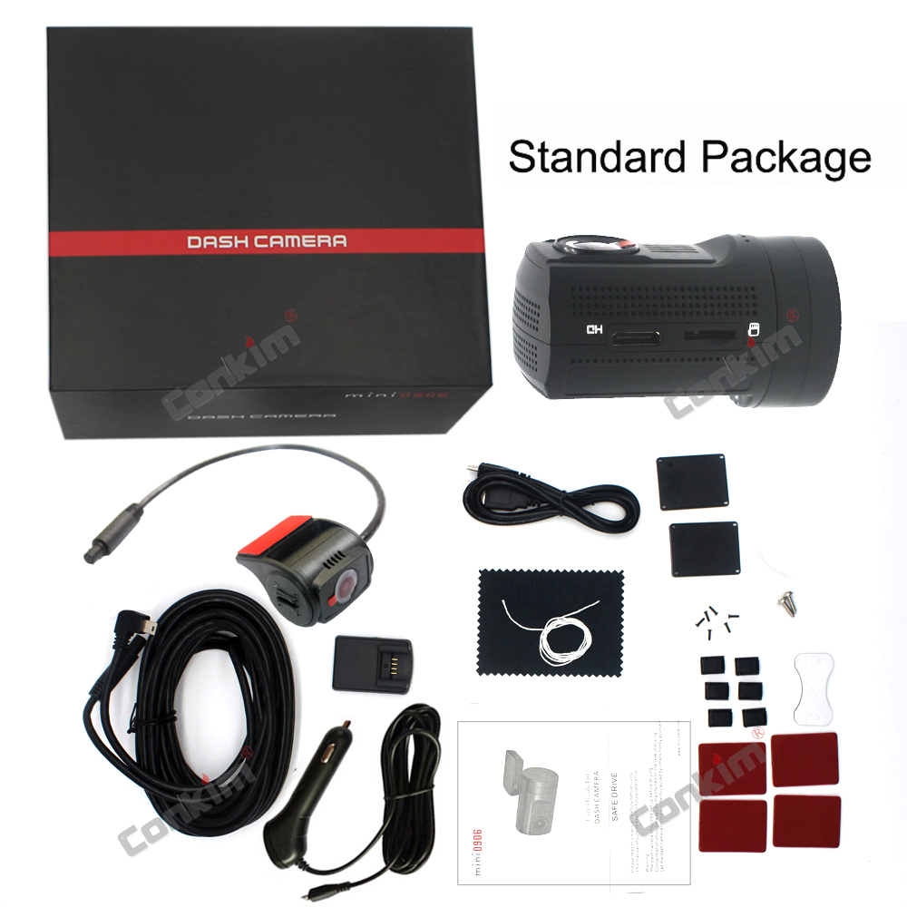 Conkim Mini 0906 Two Camera GPS Car DVR Registrar 1080P Full HD Rear View Camera Capacitor Dual Lens DVR Parking Guard Sensor 30