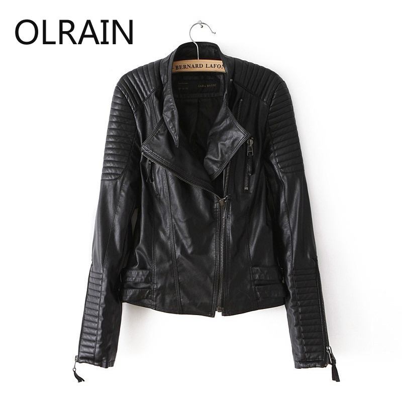 Olrain Plus Size New Autumn Winter Women Fashion Faux Leather Jacket PU Black Zipper Coat Lady Slim Motorcycle Jackets