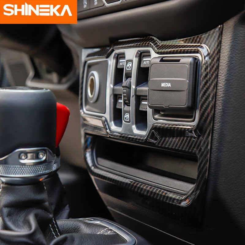 SHINEKA الداخلية القوالب ل جيب رانجلر JL 2018 نافذة تحكم زخارف اللوحات ملصق الداخلية اكسسوارات ل جيب JL