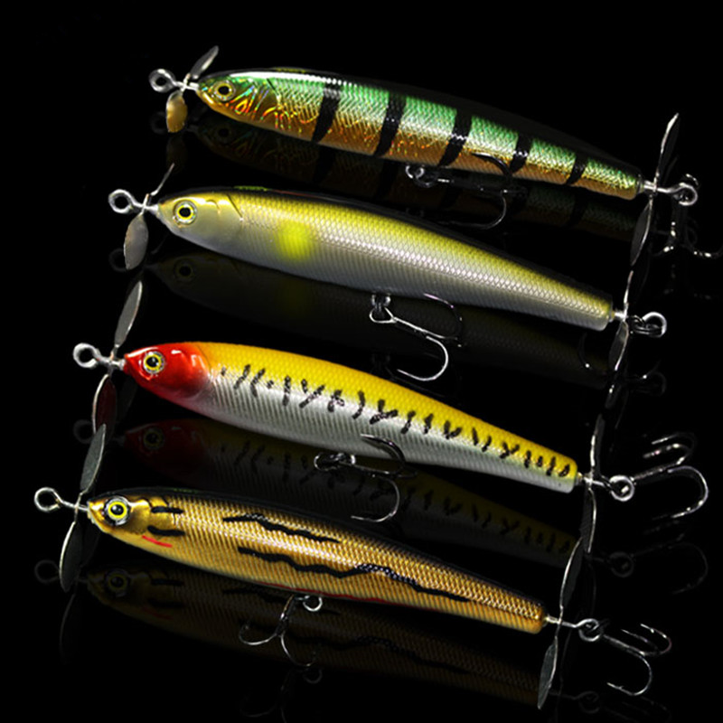 4 pcs/lot high quality 3D design Fishing Lure 95mm/13.5g Dual Propeller Pencil Baits Top water Lures  Bambusa Baits