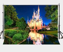 150x210cm Starry Night Green Forest Backdrop Glittering Castle Smooth River Photography Background Fairy Tale Camera Photo