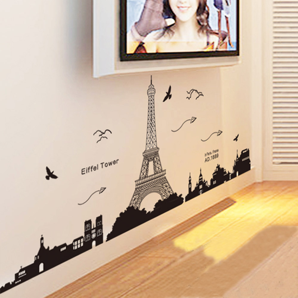 Paris eiffel tower night view beautiful romantic simple black diy paris eiffel tower night view beautiful romantic simple black diy wall stickers wallpaper art decor mural room decal in wall stickers from home garden on amipublicfo Images