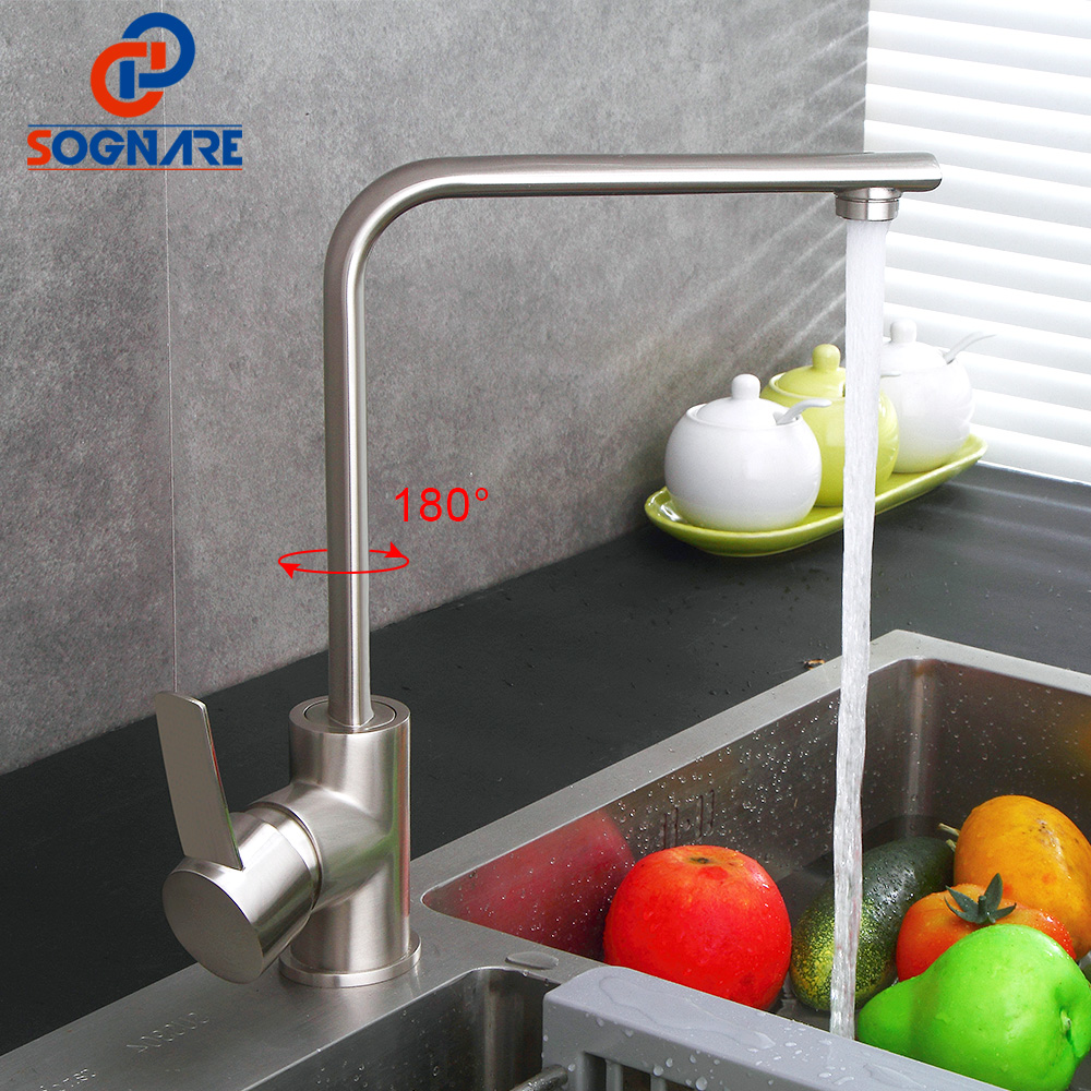 SOGNARE Kitchen Faucet Brushed Nickel Faucet All Around Rotate Swivel Mixer Tap Solid Brass Single Handle Water Torneira D2307
