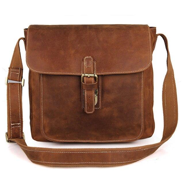 6b604d2d8418 Nesitu хорошее качество Винтаж коричневый Толстая Crazy Horse кожа Для  мужчин Курьерские сумки натуральной кожи сумки