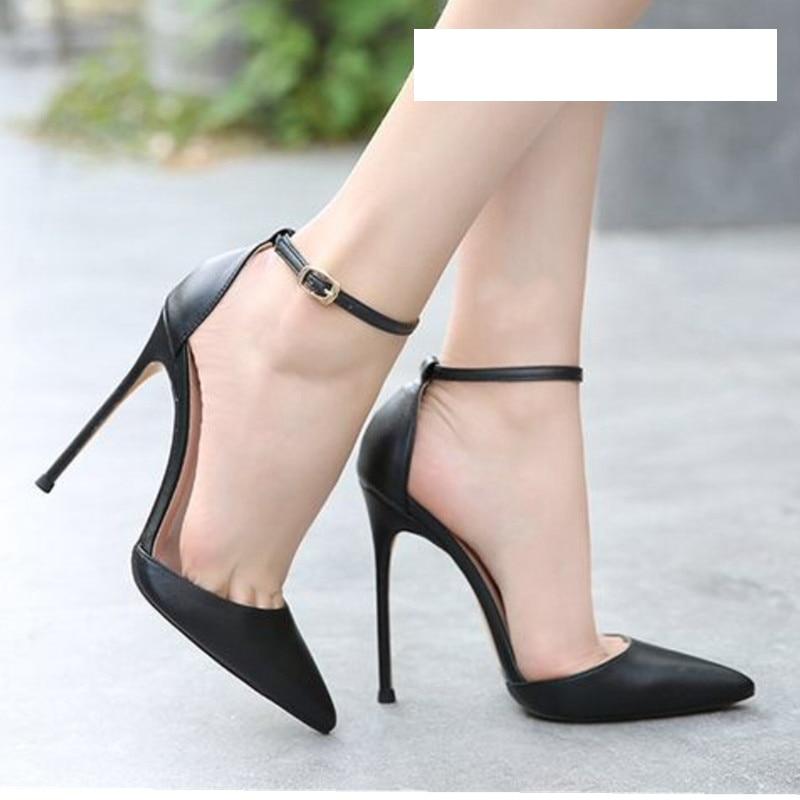 Cocoafoal Summer Women's High Heels Sandals Plus Size 33 - 43 Woman Wedding High Heels Sandals Black Sexy Summer Buckle Pumps