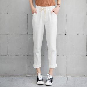 Image 2 - New Women Casual Harajuku Spring Autumn Big Size Long Trousers Solid Elastic Waist Cotton Linen Pants Ankle Length Haren Pants