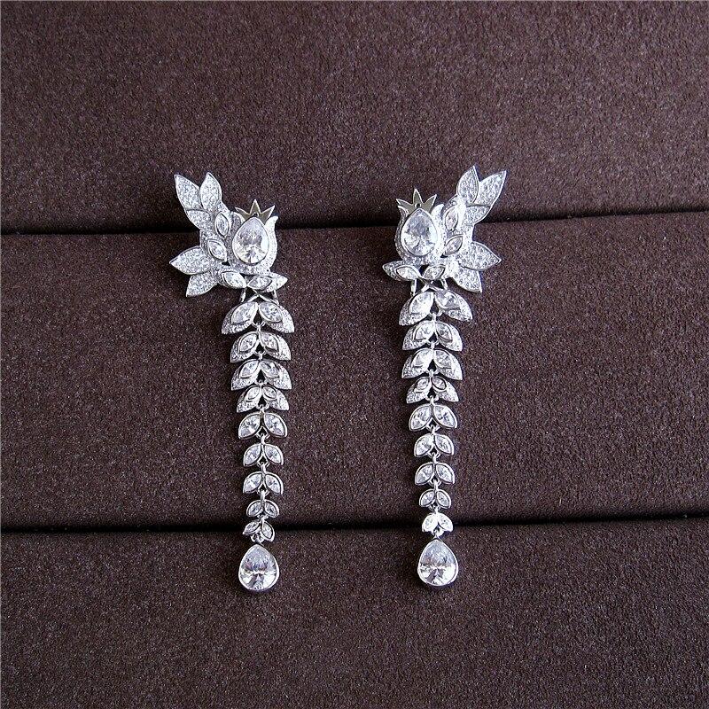 Fashion AAA cubic zirconia white stone long ear cuff drop earring dress patry accessaries,E3697S