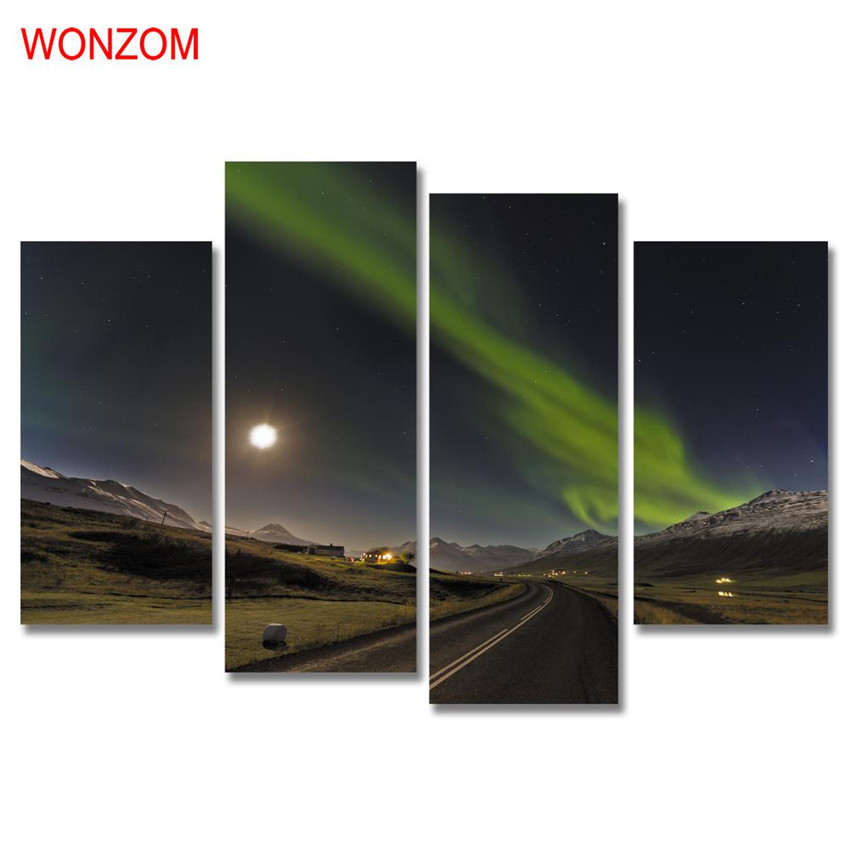 4Pcs Night Highway Canvas Painting Modern Moon Sky Painting On Canvas Cuadros Abstractos 2017 Wall Pictures For Home Decor Gift