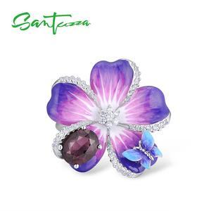 Image 2 - SANTUZZA Silver Ring For Women 925 Sterling Silver Purple Flower Butterfly Delicate Ring Party Chic Jewelry Handmade Enamel