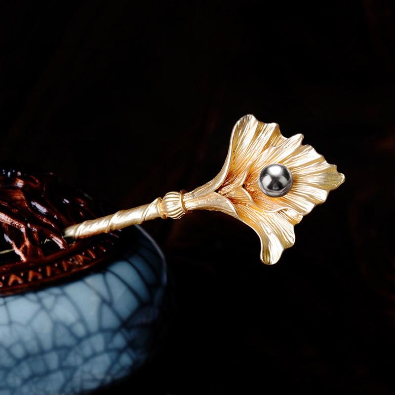 Retro Ginkgo Leaves Hair Sticks Jewelry Simulado Pearl Leaves - Bisutería - foto 2