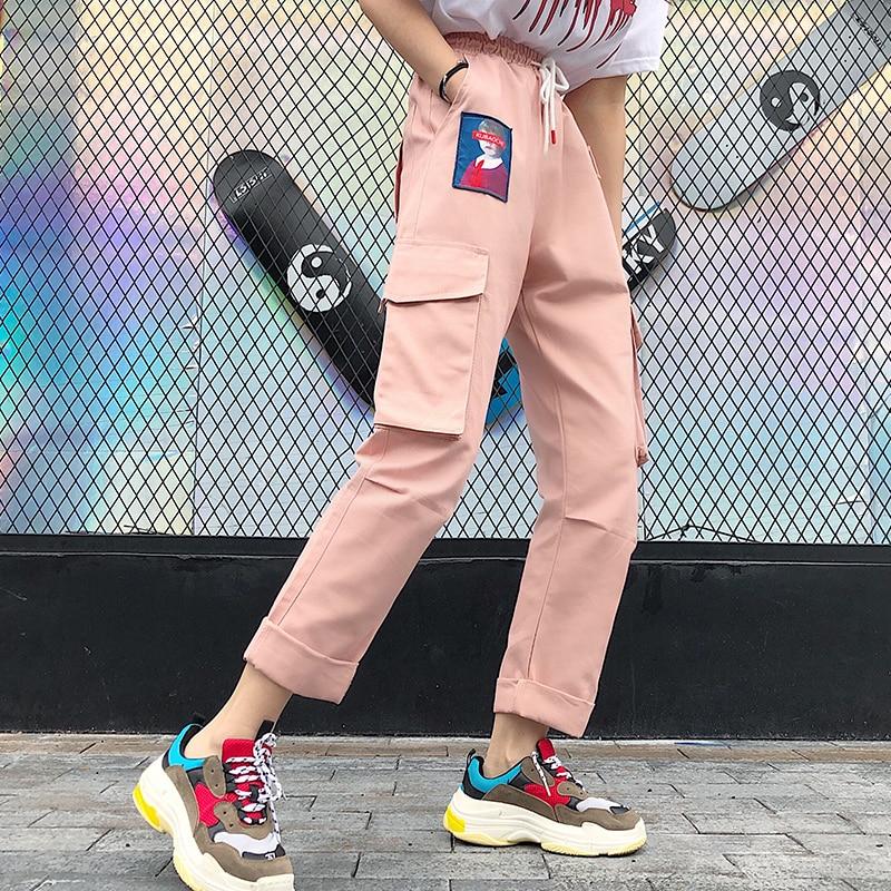 Pants Women Summer 2019 New Trendy Printed Womens Loose Elastic Waist Leisure Daily Pockets Harajuku Hip Hop Female Girls Retro 34