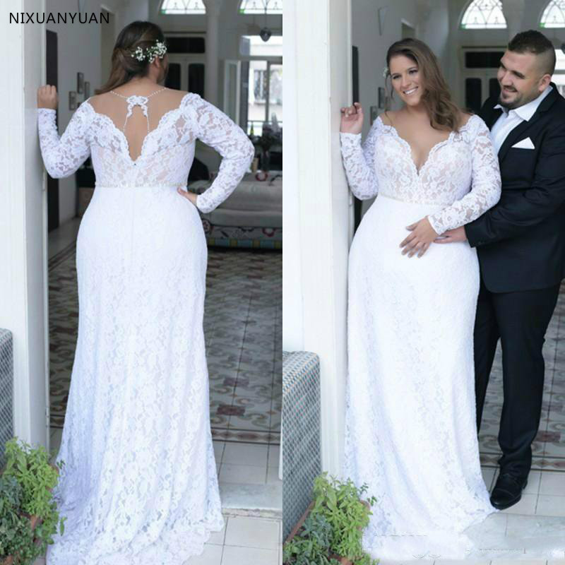 Cheap Plus Size Wedding Dresses Deep V Neck Vintage Long Sleeves 2020 Formal Wedding Bridal Gowns Court Train