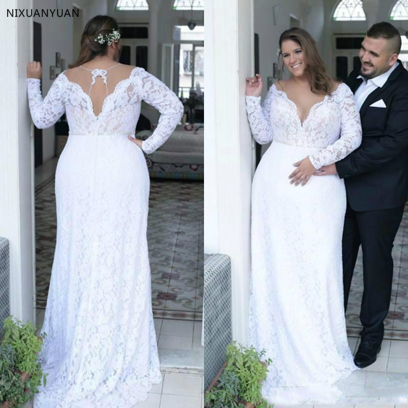 Cheap Plus Size Wedding Dresses Deep V Neck Vintage Long Sleeves 2020 Formal Wedding Bridal Gowns Court Train