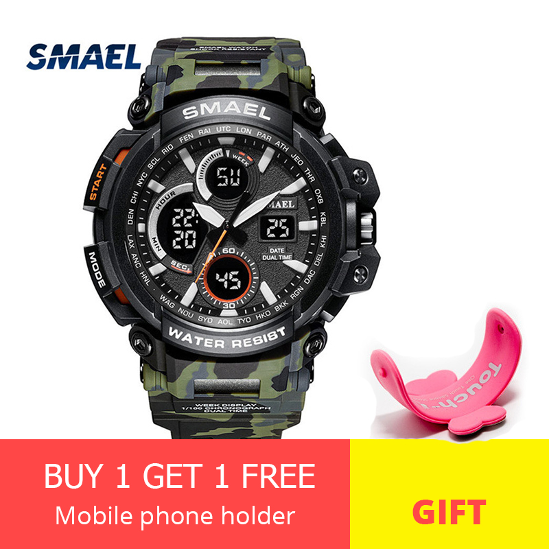 SMAEL 2018 LED Digital-watch Men G Style Big Dial Military Watch Camo Strap Waterproof Sport Watches Funcional Mens Clock saat smael 1708b