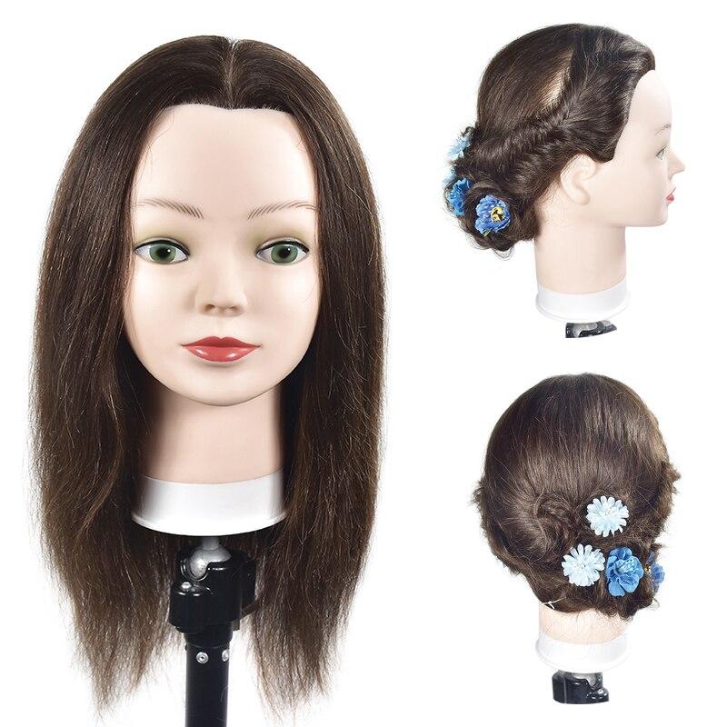 Tête d'entraînement de 45 cm 100% véritable tête de Mannequin de pratique de coiffure humaine avec support à pince pour cheveux tête de Salon factice de coiffure