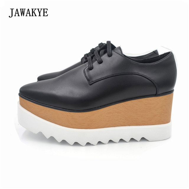 2017 Hot Stars holgazán Zapatos mujeres Square toe LACE-up plataforma inferior gruesa cuña Zapatos para las mujeres causal Zapatos
