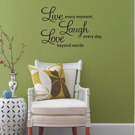 % Inspirational Quotes Love Every Moment Laugh Every Day Live Beyond Words Wall Stickers for Living Room Decoration Home Decor