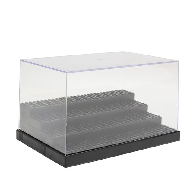 4 Pasos Display Case/Caja de Escaparate Para Bloques de Juguetes de acrílico Caja de Presentación de Plástico Caja A Prueba de Polvo 25.6x17.5x15 cm Placa Base de Ladrillos