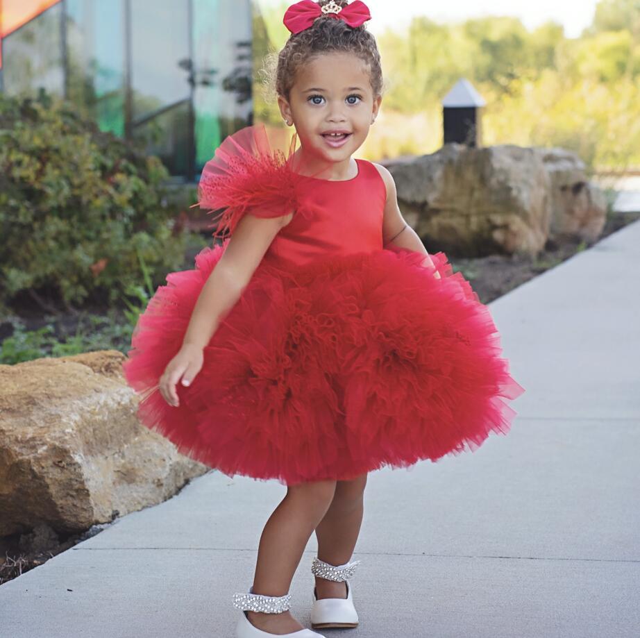Rouge court bouffi tulle volants fleur fille robes pour fête noël genou longueur sans manches bébé infantile tutu 1st robe d'anniversaire