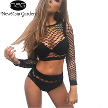 55c2212458 NewAsia Garden Sexy Black Hollow Out Fishnet Top Knickers Set Mesh Women 2  Piece