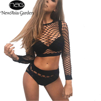 Sexy Black Hollow Out Fishnet Top&Knickers Set Mesh Women Bodysuit 2 Piece Suit Summer Rompers Jumpsuit Body Playsuit Beach Wear