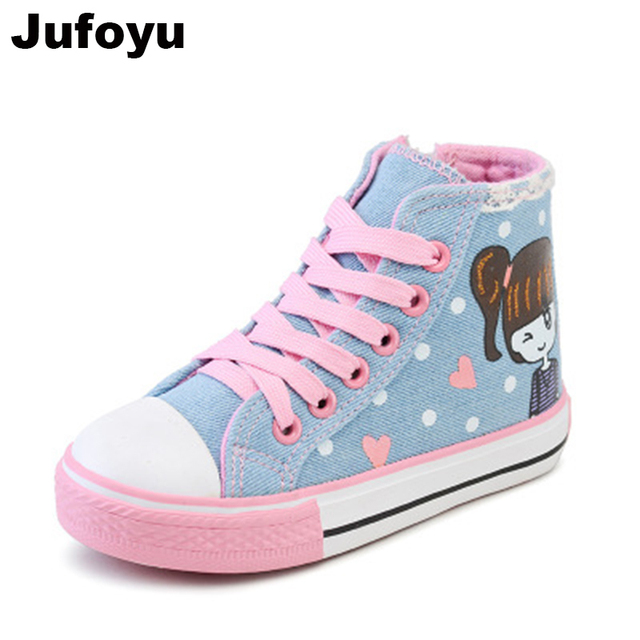 2f7f6f111823 Jufoyu 2018 Children s Spring Shoes New Lace Denim Canvas Shoes Girls  Canvas Shoes High Fashion Movement Cartoon Casual Flat Tie