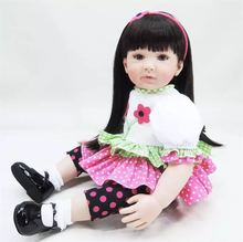 22 inch 55 cm Silicone baby reborn dolls, lifelike doll reborn babies toys Cute dress doll