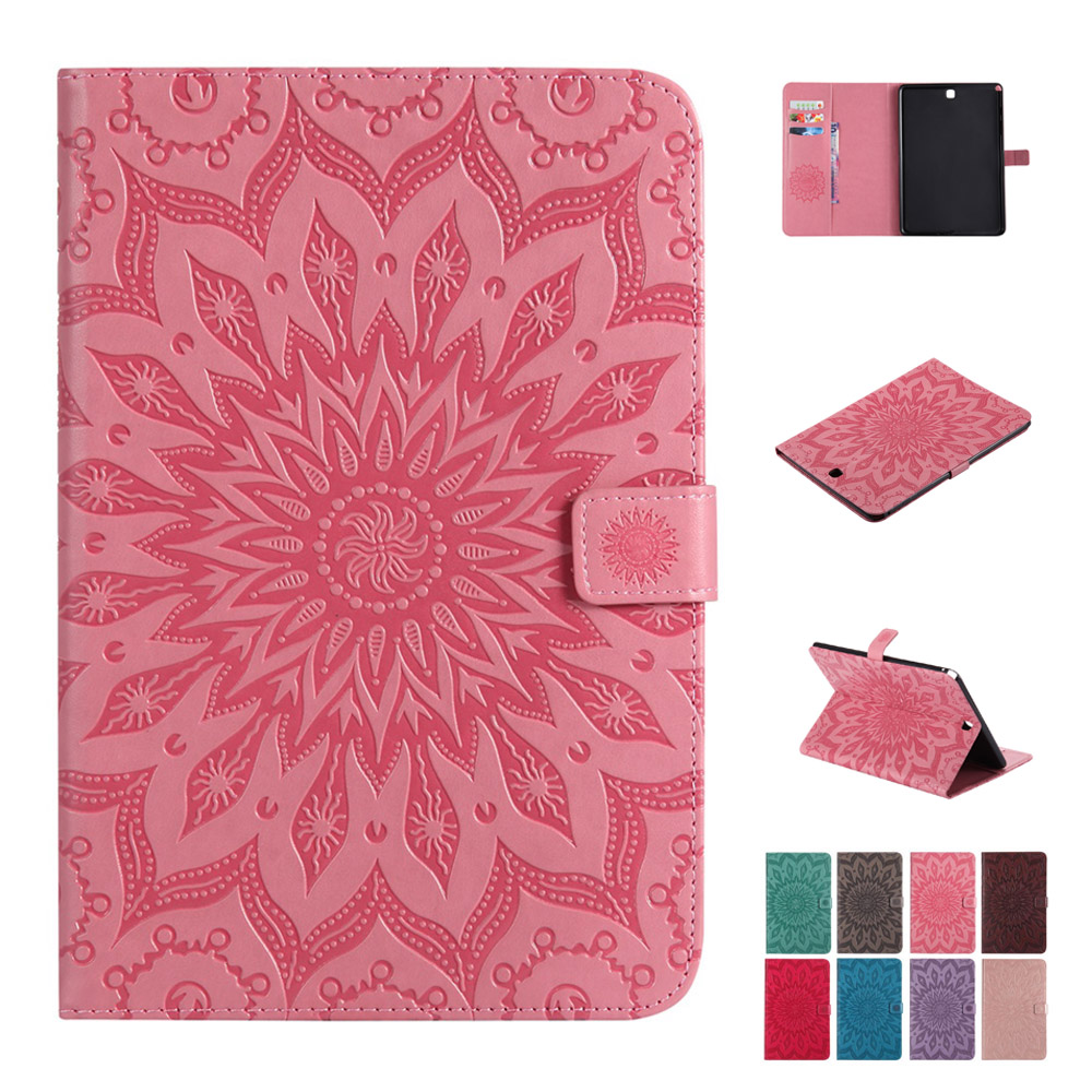 Case For Samsung Galaxy Tab A 9.7 T550 T555 Fashion Sunflower PU Leather Silicone Tablets Books Case Cover Shell