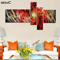 Frameless 5 Panels Set 100% Hand painted Red Grey Abstract Canvas Painting Artwork Wall art canvas painting poster and prints
