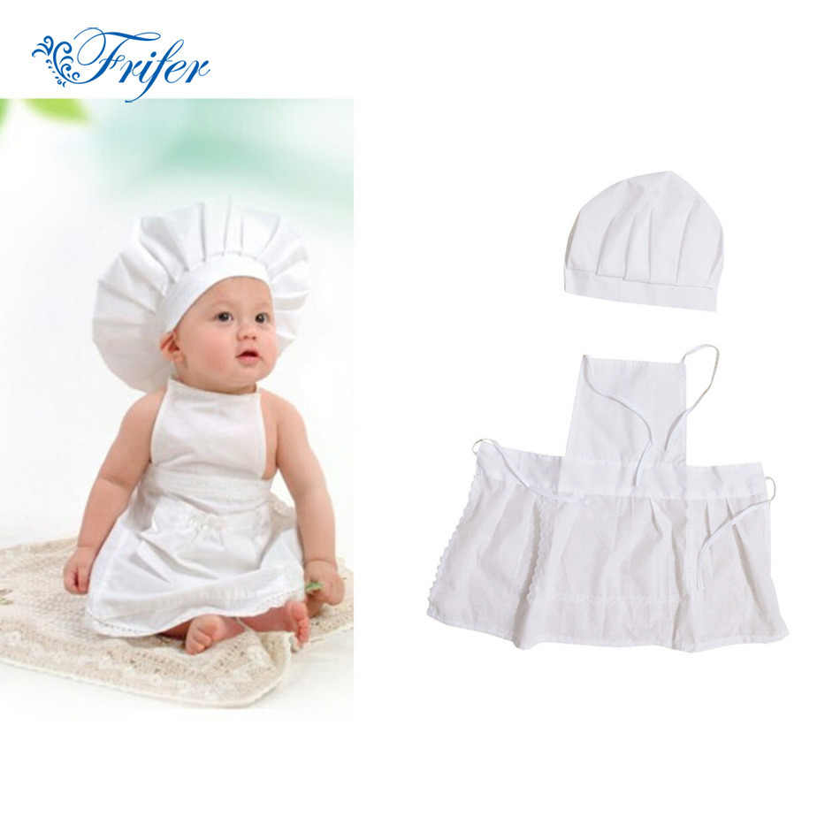 Cute Baby Chef Apron&Hat For Kids Costumes Cotton Blended Chef Baby White Cook Costume Photos Photography Prop Newborn Hat Apon