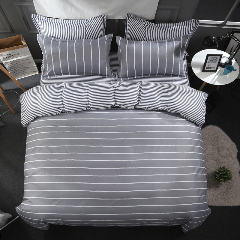 luxury Simple striped winter gray 4pcs bedding set cotton king size Soft and comfortable Large double bed linen-duvet cover