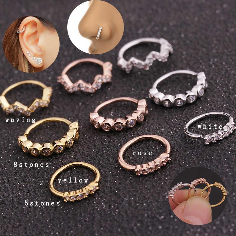1 шт медная круглая форма золотые и серебряные серьги Daith Септум нос ноздрил кольцо в ухо кольцо CZ Пирсинг ювелирные изделия