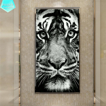 PSHINY 5D DIY Diamond embroidery Black-and-white tiger picture Full mosaic square rhinestone animal diamond painting cross stich
