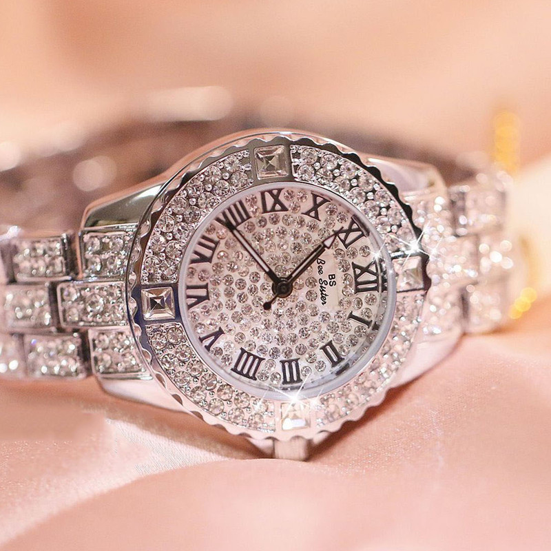 Roman digital scale rhinestone full table gold silver rose gold watch gift ladies rhinestone dial Fashion amp Casual Chronograph in Women 39 s Watches from Watches