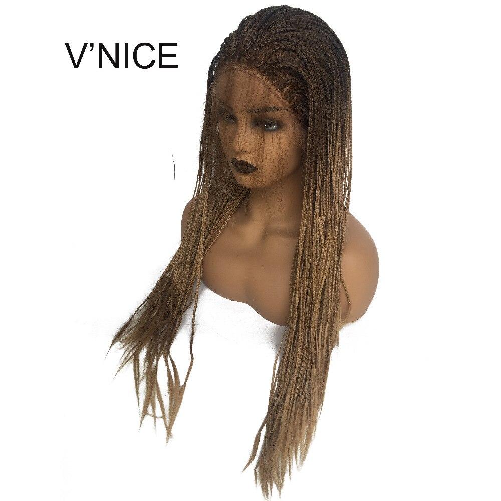 V'NICE коричневый Ombre Мёд блондинка бесклеевого синтетический Синтетические волосы на кружеве коса парик с ребенком волос жаропрочных плетен...