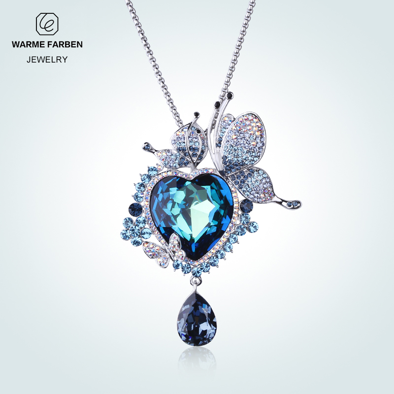 Warme Farben Crystal Heart Brooches For Women Crystal From Swarovski Zircon Classic Brooches Fine Jewelry Wedding