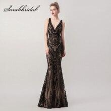 בציר ואגלי שחור ערב שמלות 2 ב 1 נתיק חצאית סקסי V צוואר Criss Cross ללא משענת לנשף שמלות Robe De soiree L5265