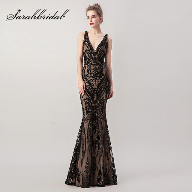 Little Black Long Mermaid Evening Dresses with Detachable Tulle Skirt Sequin Sexy V-neck Criss-Cross Backless Prom Gowns L5265