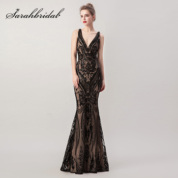 Vintage Beading Black Evening Dresses 2 in 1 Detachable Skirt Sexy V Neck Criss Cross Backless Prom Gowns Robe De Soiree L5265