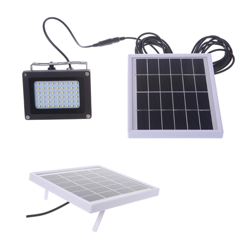 Solar Powered Floodlight Spotlight Outdoor Waterproof Security Light 54 LED 400lm Garden Lawn Pool T15