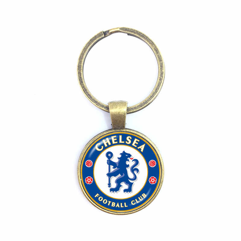 Football Team Club 25mm Glass Dome Cabochon KeyChain Chelsea Football Club Leagues Logo Soccer Club Keyring For Fans Gift