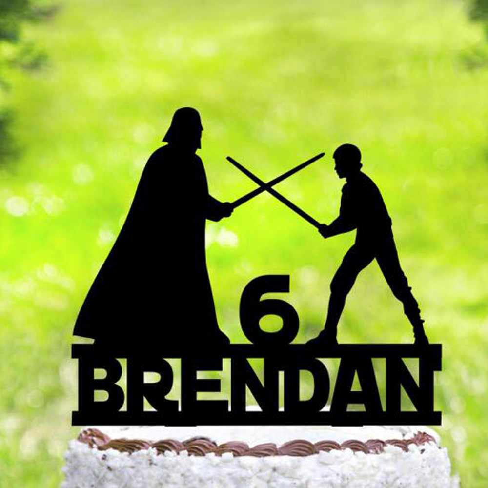 Amazing Custom Unique Happy Birthday Cake Topper Darth Vader And Luke Funny Birthday Cards Online Bapapcheapnameinfo