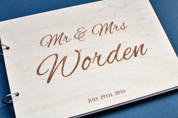 Rustic Engraved Wedding Guest Book Alternative,Mr Mrs